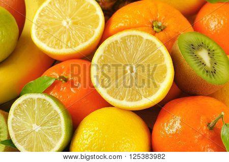 heap of fresh tropical fruit - full frame
