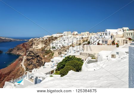 A cityscape image from Santorini of the village of Oia.