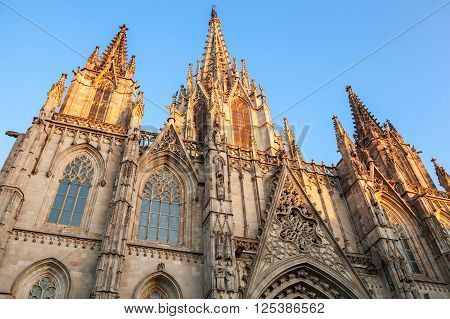 Spain,  Barcelona Cathedral. Facade Fragment