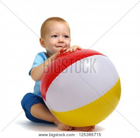 Little boy playing toy isolated on white background