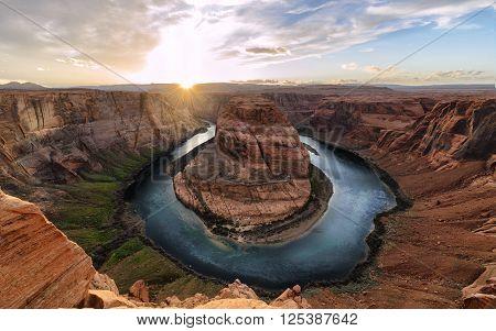 Sunset moment at Horseshoe bend Colorado River Grand Canyon National Park Arizona USA