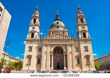 Facade of St. Stephen's Basilica in Budapest, Hungary.