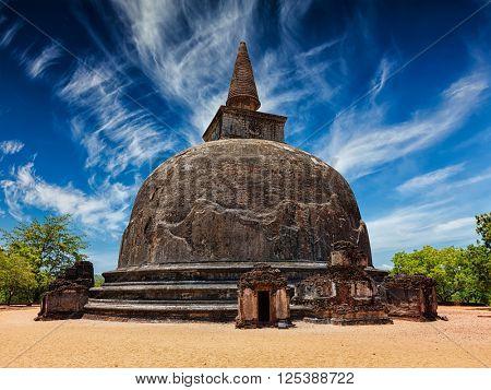 Sri Lanka tourist landmark Kiri Vihara - ancient Buddhist dagoba. Pollonaruwa, Sri Lanka