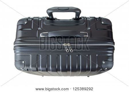 Top view of a big lightweight hard shelled suitcase, new and clean luggage in black color made of Polycarbonate material isolated on white background