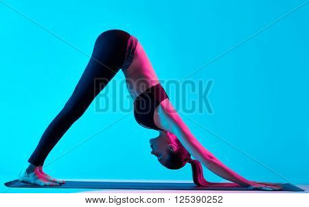 woman yoga exercices Adho Mukha Svanasana