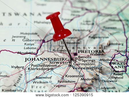 Map with pin point of Johannesburg in South Africa