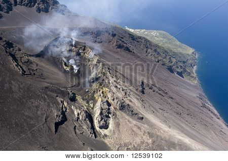 stromboli volcano activity, eolie, messina, sicily, italy