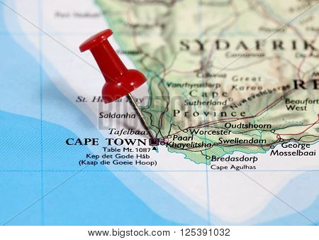 Map with pin point of Cape Town in South Africa