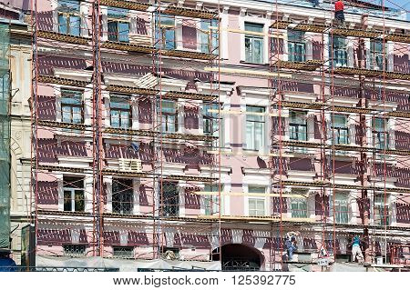 Saint-Petersburg, Russia - May 13, 2006: scaffolding during reconstruction of old building