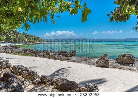 View of  White Beach at Boracay island of Philippines