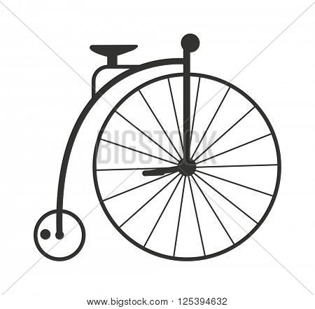 Retro style vintage bike nineteenth century bicycle old wheel transport isolated vector illustration.