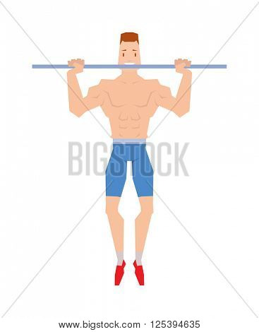 Street workout sport, exercising, training and lifestyle concept - young man doing abdominal exercise on horizontal bar vector.