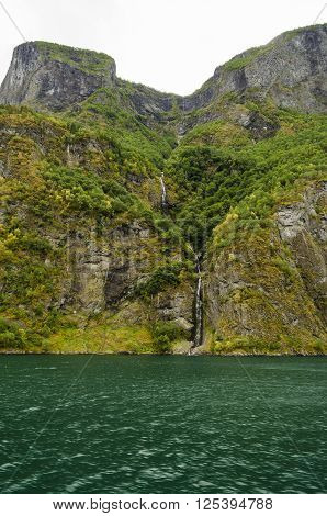 Waterfall view, typical Norwegian landscape in summer