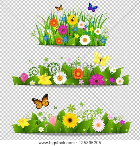 Spring Flower Bouquet Isolated on Transparent Background, Vector Illustration, With Gradient Mesh