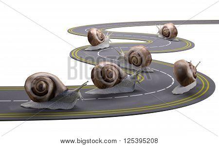 snails traveling a road slowly 3d illustration