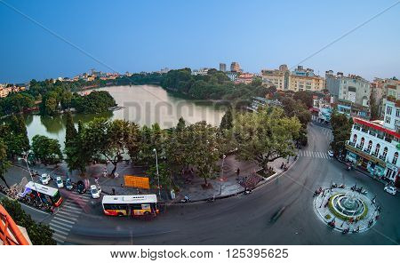 HA NOI, VIET NAM, April 13, 2016: center of Ha Noi, Vietnam, seen from above. Hoan Kiem Lake area, Ha Noi