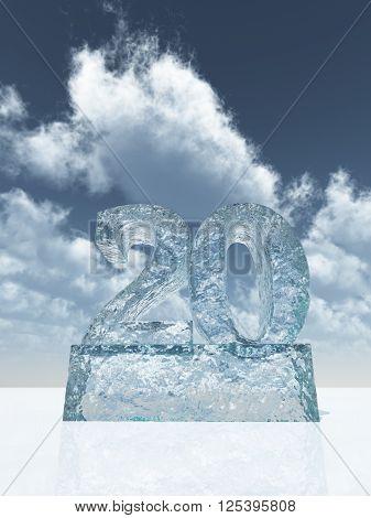 frozen number twenty - 20 - under cloudy blue sky - 3d illustration