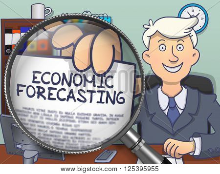 Economic Forecasting. Happy Man in Office Workplace Showing a Text on Paper through Magnifier. Colored Modern Line Illustration in Doodle Style.