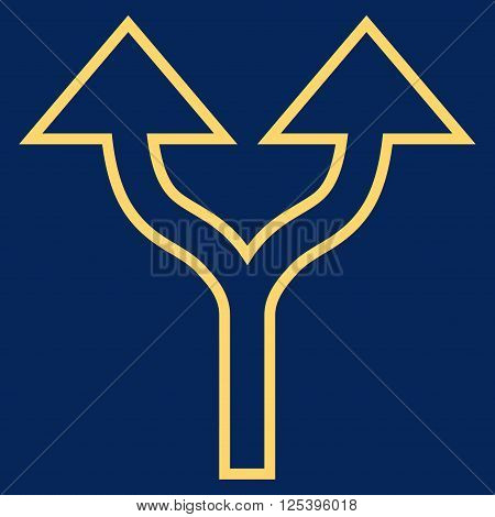 Split Arrows Up vector icon. Style is thin line icon symbol, yellow color, blue background.