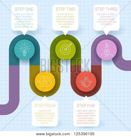 Ifographic vector step by step mock up.