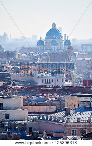 Birds eye view of the roofs and Holy Trinity Izmailovo Cathedral in Saint-Petersburg Russia. Architectural landscape. Soft focus processing ** Note: Visible grain at 100%, best at smaller sizes