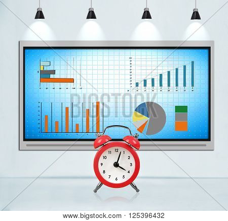 Tv screen on concrete wall in loft room with stock chart. Big red clock. Deadline concept.
