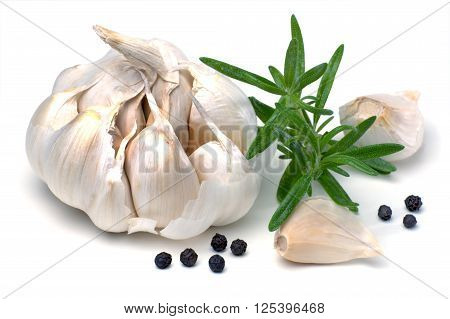 Garlic with fresh rosemary and black peppercorns isolated against white