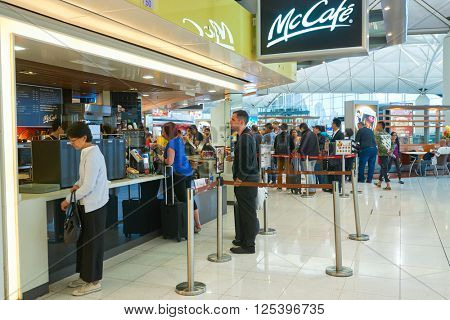 HONG KONG - MARCH 08, 2016: McCafe in the Airport. McCafe is a coffee-house-style food and drink chain, owned by McDonald's.