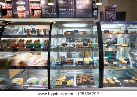SAINT PETERSBURG, RUSSIA - MARCH 12, 2016: interior of Starbucks Cafe. Starbucks Corporation is an American global coffee company and coffeehouse chain based in Seattle, Washington