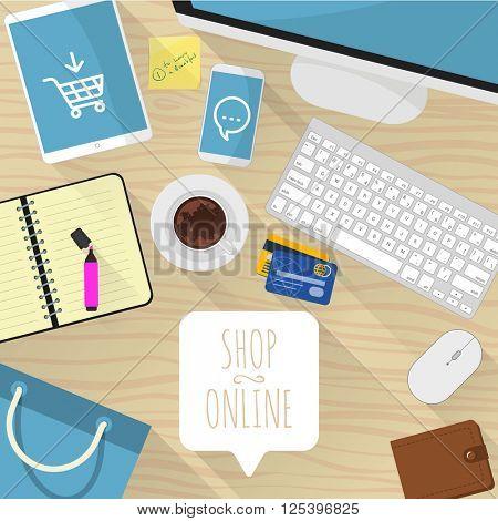 Shop online. Vector desktop mock up.