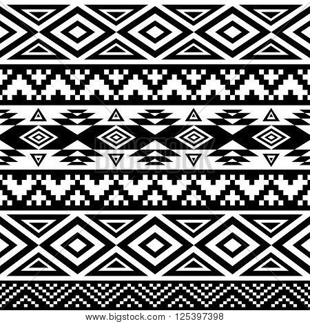 Seamless ethnic pattern background with geometric aztec maya peru mexican tribal american indian elements.