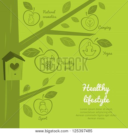 Infographics healthy lifestyle with healthy food icons dumbbell fruits camping. Diet concept. Meal plan. Fitness food. Meditation icon. Lifestyle images. lifestyle icon. Flat icon.