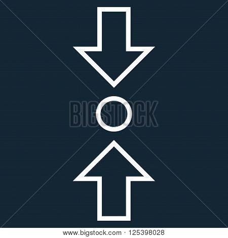 Compress Vertical vector icon. Style is contour icon symbol, white color, dark blue background.