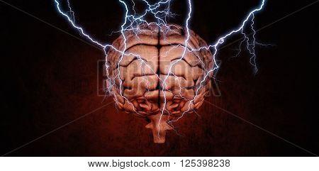 Lightning bolt against dark background