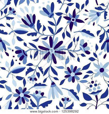 Vintage Flower Pattern In Indigo Blue Color