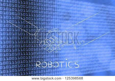 robotics: man and robot shaking hands concept of innovation to help with various tasks