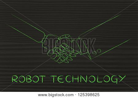 robot technology: man and robot shaking hands concept of innovation to help with various tasks