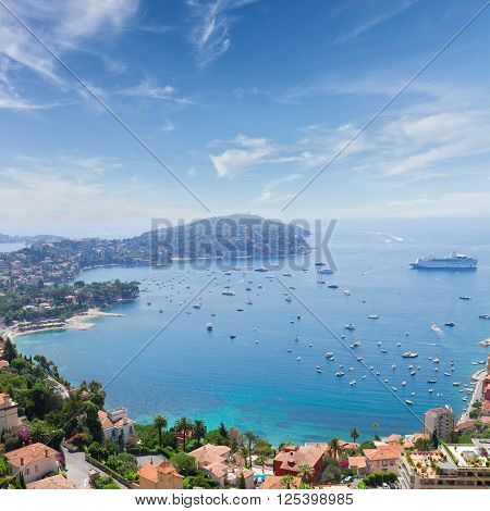 landscape of riviera coast, turquiose water and clear blue sky of cote dAzur at sunny summer day, France