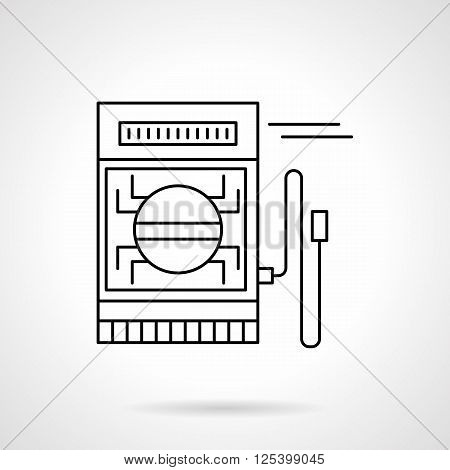 Measuring equipment, tool and devices. Electrical measuring instrument. Metrology. Flat line style vector icon. Single design element for website, business.