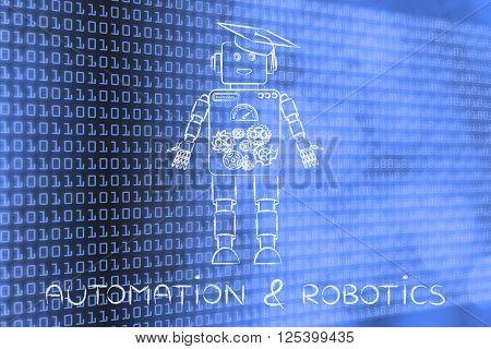 Funny Robot With Graduation Hat, Automation & Robotics
