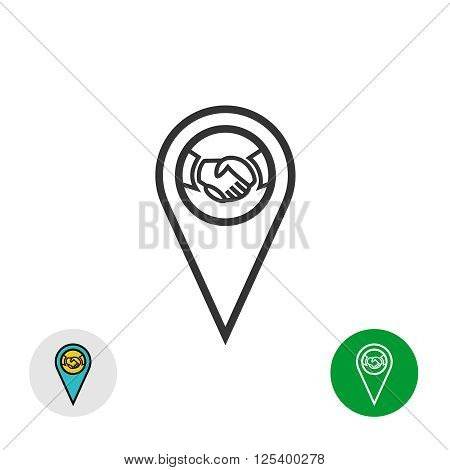Meeting Point Logo. Handshake Icon Inside A Geo Map Gps Pin Mark Symbol.