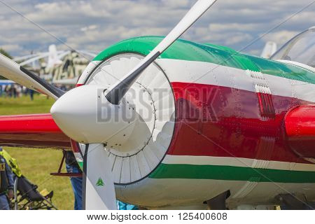 Propeller Blades of Sportive Aeroplane YAK-52 on display During Aviation Event Dedicated to the 80th Anniversary of DOSAAF Foundation in Minsk