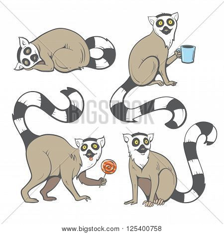 Cute cartoon ring tailed lemurs set. Funny four madagascar cats. Vector image. Children's illustration.