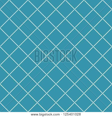 Crossing Sea Ropes Diagonal Net Seamless Pattern. White On A Blue Colors.