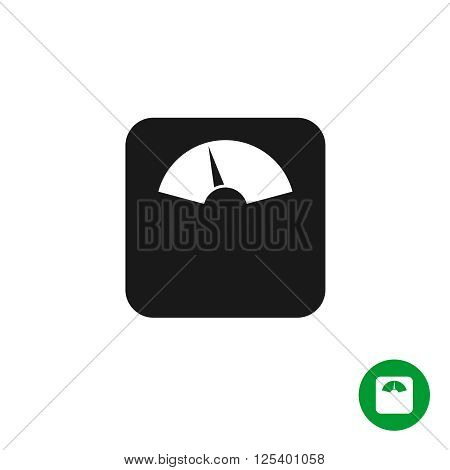 Floor Scales Black Simple Icon. Mechanical Scales With Arrow Pointer.