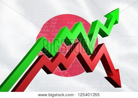 Red and green jagged arrows against stocks and shares