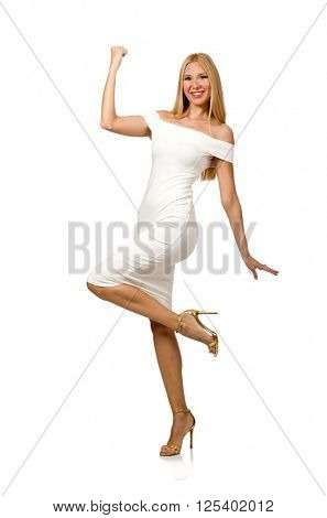 Smiling blondie in elegant resort dress isolated on white