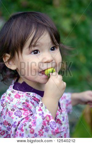 Portrait of a little girl tasting a tomato in garden