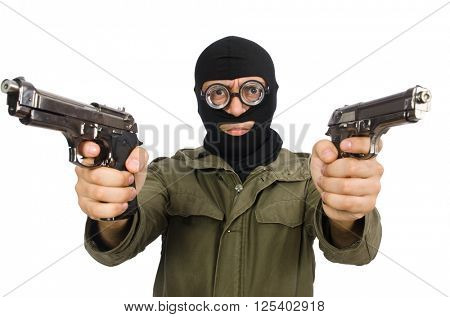 Funny man wearing balaclava isolated on white