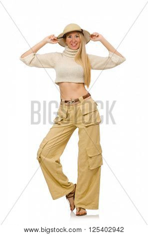 Pretty woman in beige trousers isolated on white